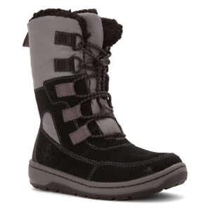 Toddler-Sz-4-5-Timberland-Winterfest-Black-Grey-Suede-Boots-Faux-Fur-Waterproof