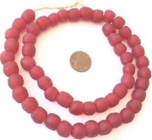 Handmade-Ghana-Sea-Red-Glass-Krobo-recycled-Glass-African-trade-Beads