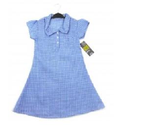Girls Kids Ex Chainstore School Summer Dress Uniform Gingham Pockets Red Blue