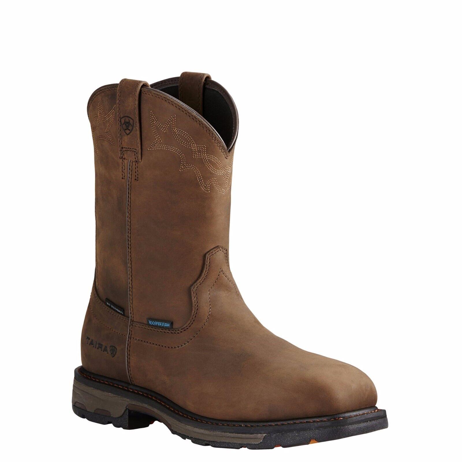Ariat ® para hombre Workhog Cuadrado Composite Toe H2O Marrón botas De Trabajo 10020092