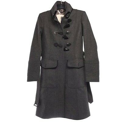 BURBERRY Grey Wool Long Duffle Coat Belted Trench Jacket BNWT UK 12 IT 44 US 10