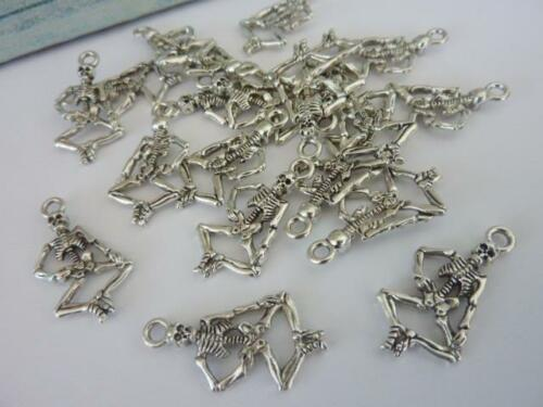 20 pce Metal Antique Silver Skeleton Charm Pendants Halloween Projects