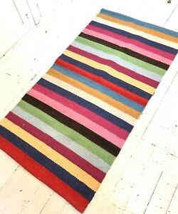 Colorful Striped Wool Accent Rug Kitchen Patio 28x51