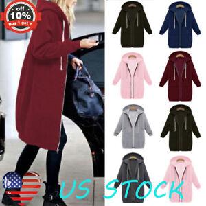 Women-039-s-Hoodie-Sweatshirt-Sweater-Casual-Hooded-Full-Zipped-Long-Top-Coat-Jacket