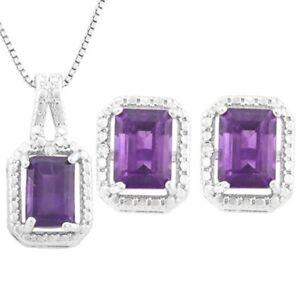 4.56ct Saphir & Diamant Halskette Ring Im Set 18k & 14k Weiss Gold Ohrringe
