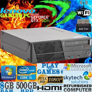 LENOVO-ULTRA-veloce-Quad-Core-i5-Gaming-PC-8gb-500gb-GTX-750ti-2gb-GDDR-5-Computer