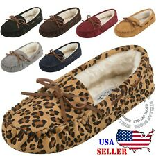 CLOVERLAY Women's Moccasin Faux Fur Suede Slippers Moccasin Comfortable Slippers