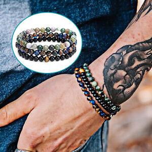 Lucky-Mens-Natural-Black-Agate-Stone-Mala-Beads-Bracelet-Reiki-Yoga-Jewelry-1Set