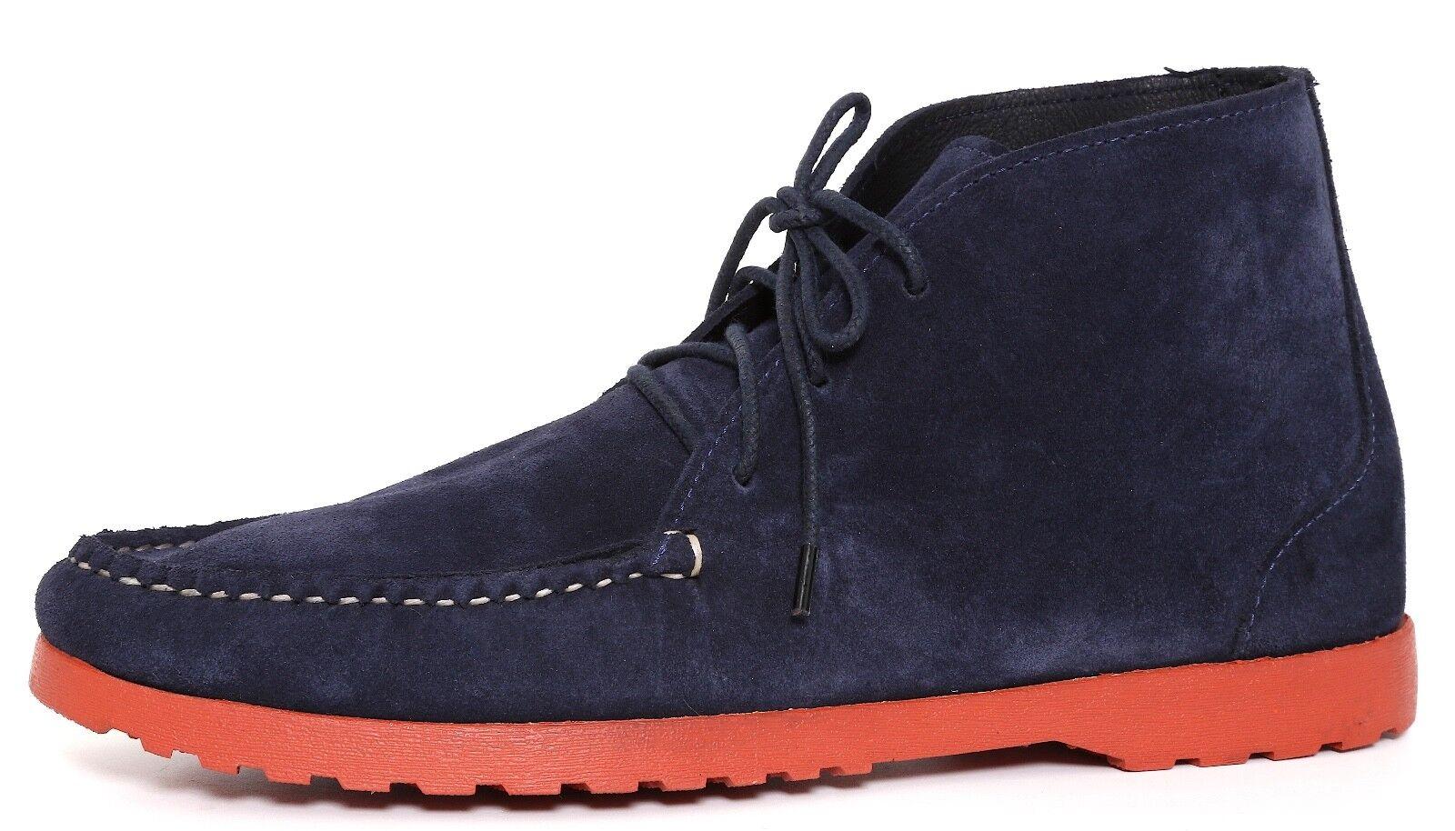 Quoddy botas al tobillo con Cordones Gamuza Azul Marino Hombre