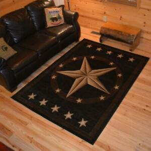 Image Is Loading Area Rug Black Western Texas Star 5 039