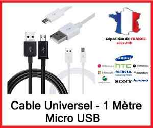 Cables-micro-USB-1m-Universel-Recharge-donnees-Samsung-Htc-Lg-Wiko-Nokia-Sony