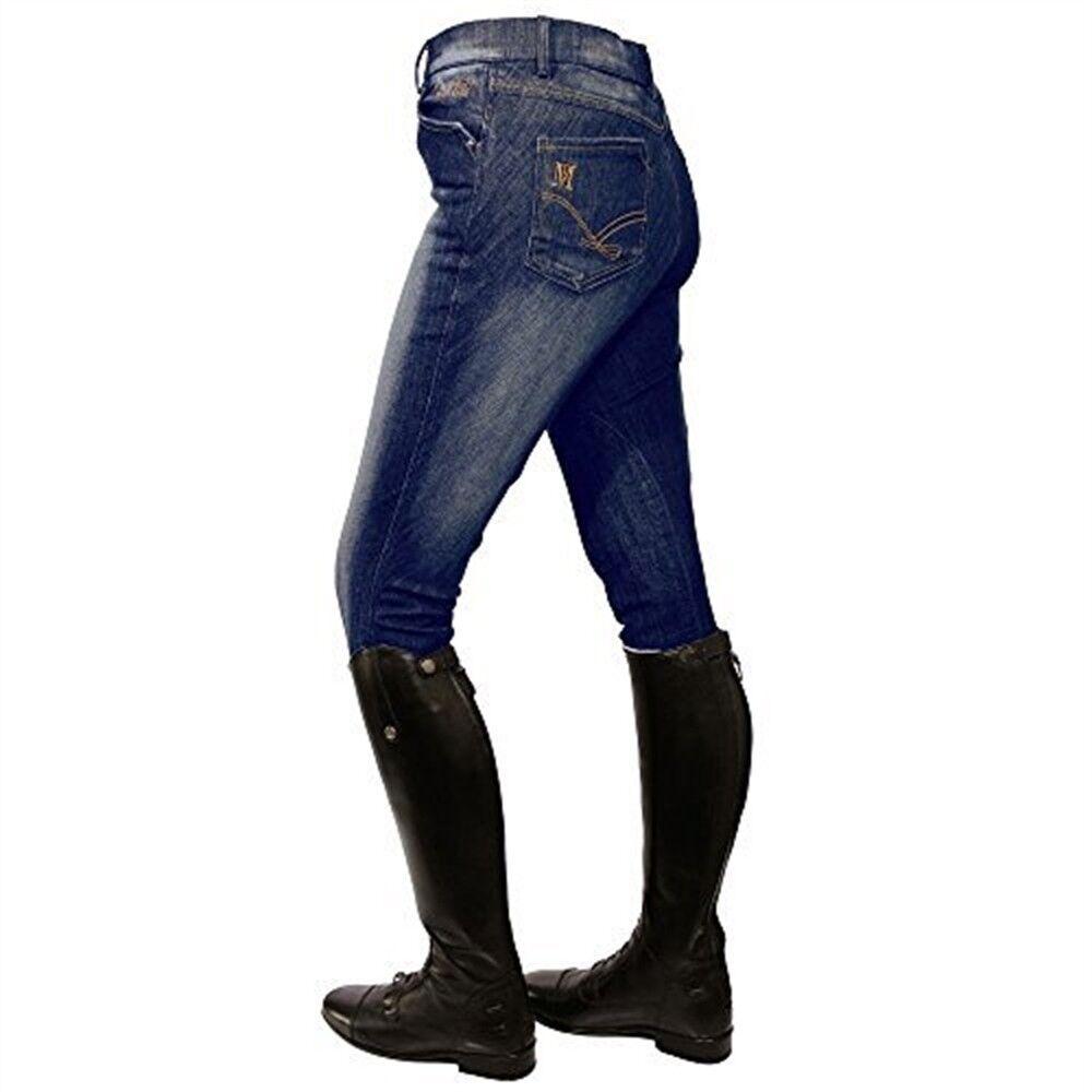 Mark Todd Ladies Dark Denim Jeans Breeches (34 , Denim bluee) - bluee Jean All