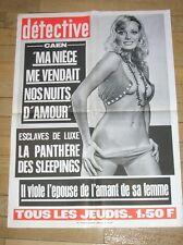 """AFFICHETTE DU JOURNAL """"DETECTIVE"""" / ESCLAVES DE LUXE / ANNEES 70 /EXCELLENT ETAT"""