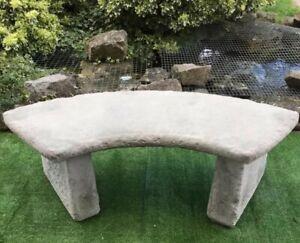 Stone Garden Quarter Circle Curved Bench Concrete Reinforced Ebay