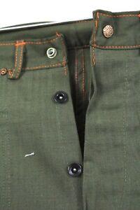 VTG-DEADSTOCK-Jeans-Sanforized-Cotton-Button-Fly-1920s-30s-Green-Herringbone-30W