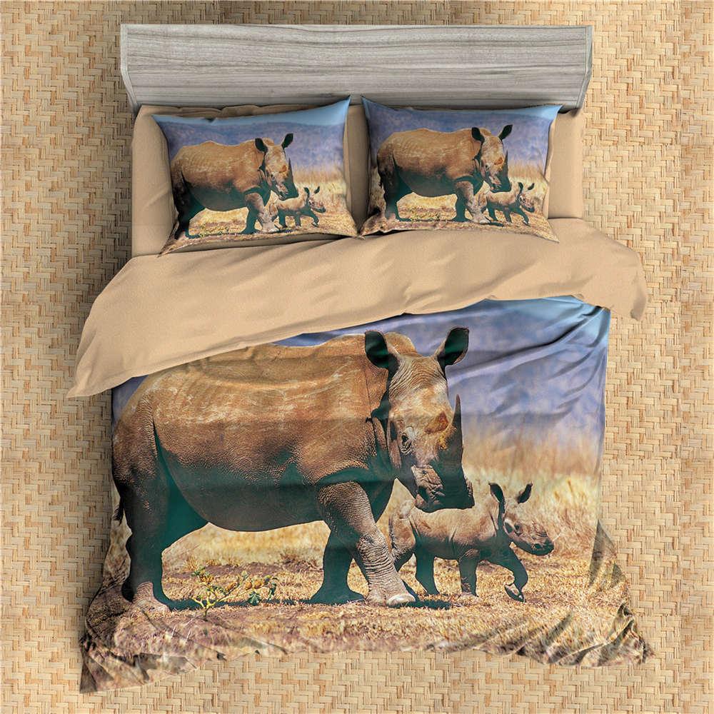 Rhinoceros African Prairie 3D Digital Print Bedding Duvet Quilt Cover Pillowcase