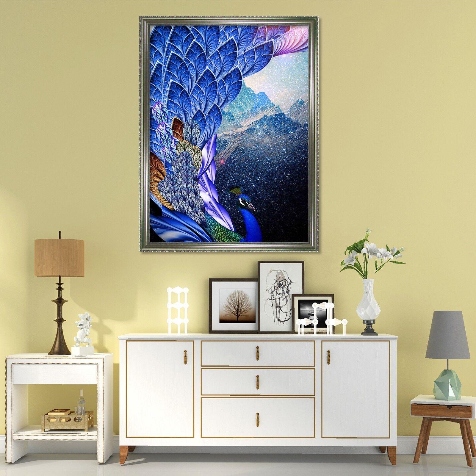 3D Pavo Real nieve Hills 2 Enmarcado Póster Decoración del Hogar Pintura de Impresión Arte AJ Wallpaper