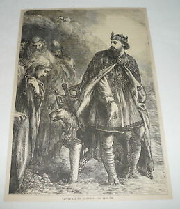 1879 magazine engraving ~ CANUTE AND HIS COURTIERS