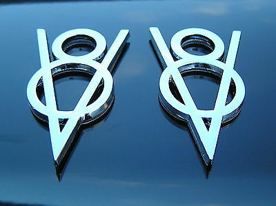 VINTAGE STYLE V8 METAL BADGES PAIR 2 Chrome Metal V8 Emblems *NEW* FORD