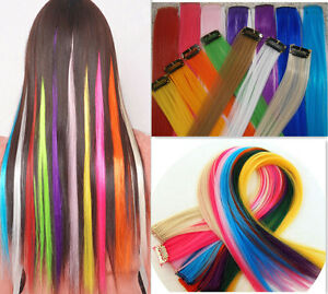 Clip-In-Hair-Extensions-Synthetic-Single-Piece-Clips-18-Choice-of-Colours-BN