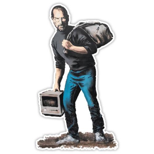 Banksy Steve Jobs Migrant Graffiti Wall art Vinyl Sticker Window Laptop Decal