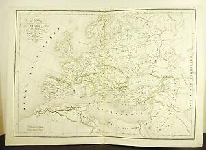 Fiable L'europe De L'empire De Charlemagne Carte Ancienne 1838 Ancient Map 45cm 38cm
