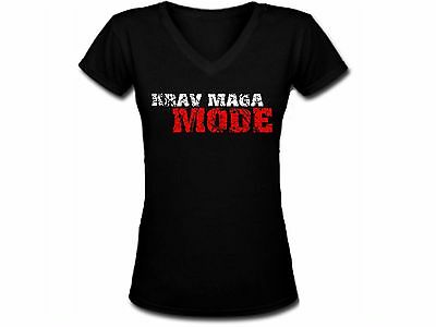 Krav maga Mode martial arts close combat women or junior black v neck t-shirt