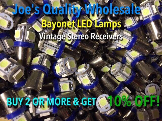 (6) SIX BAYONET LED LAMP 6.3V/AC/COOL BLUE-Mc/Mac-AMP/STEREO/BA9s/ MR-77 MR-78