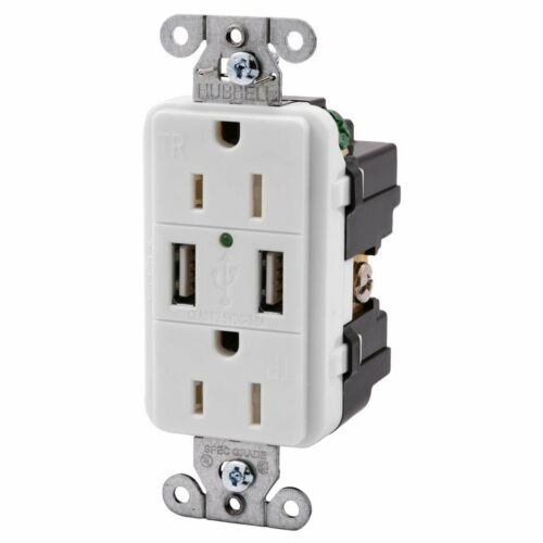 Hubbell White Tamper Resistant Receptacle Outlet w//USB Charger 15A USB15X2W
