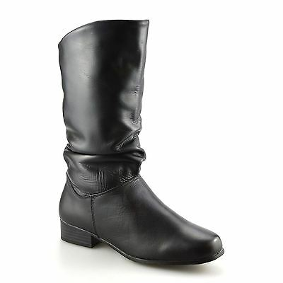 Ladies Womens New Leather Mid Calf Low Flat Heel Slouch Riding Boots Shoes Size