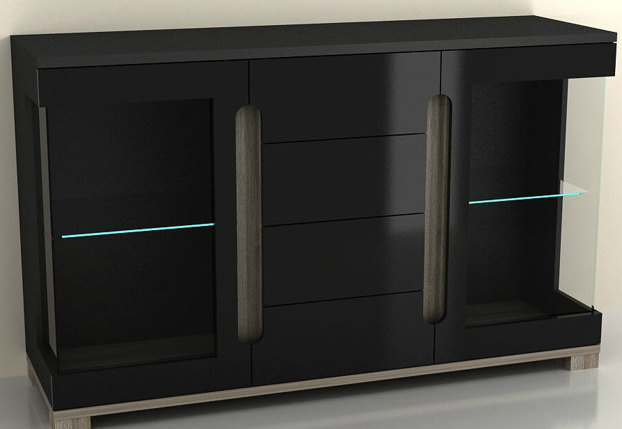 Black High Gloss Wide Sideboard Cabinet Cupboard Glass Door Unit With LED Lights eBay