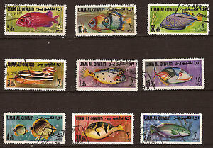 UMM-EL-QIWAIN-lot-de-9-sellos-pescado-de-mar-PR325