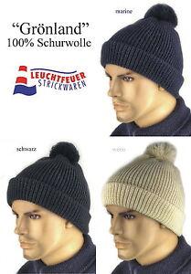 Wollmütze Pudelmütze Mütze GRÖNLAND 100/% Schurwolle