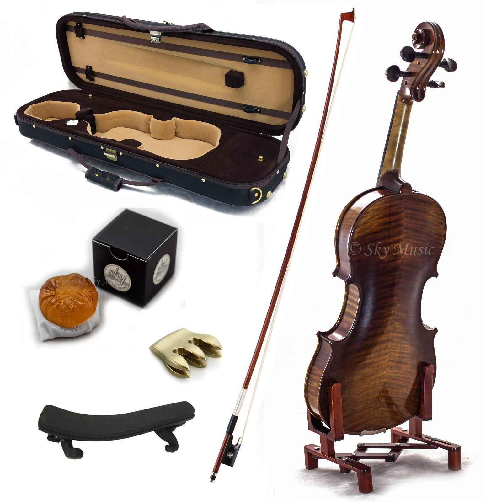 4 4 Antique Style Professional Handmade VN406 Violin Kit w Case Bow Rosin Mute