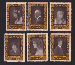 RARE 1914 WENTZ & CO. MOVIE STAR COLLECTOR STAMPS - FULL 6 STAMP SET w/ALAN HALE