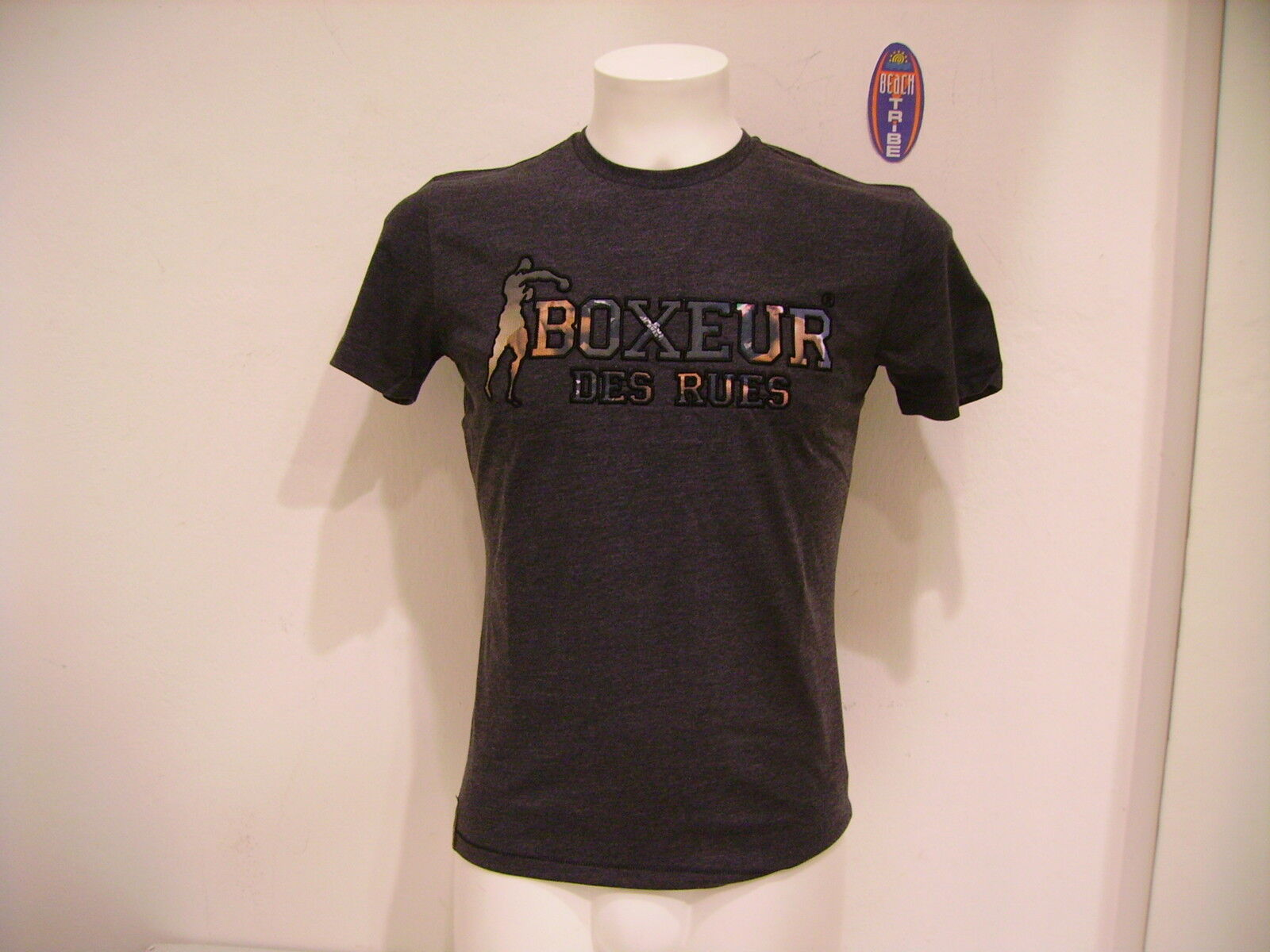 BOXEUR MEN'S T-SHIRT SHORT SLEEVE BXE2481A ANTHRACITE MEL GREY M
