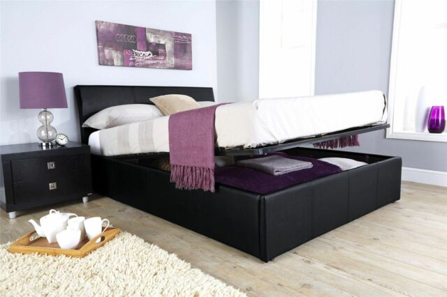 ASCOT OTTOMAN STORAGE BED FRAME FAUX LEATHER GAS LIFT 4FT6 DOUBLE 5FT KING SIZE