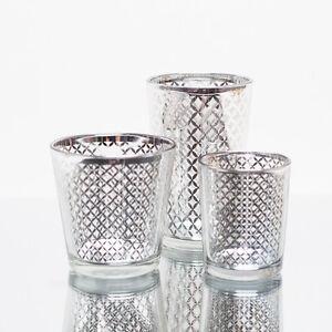 Richland Votive Candle Holder Silver Mercury Lattice Set of 48 Home Decor