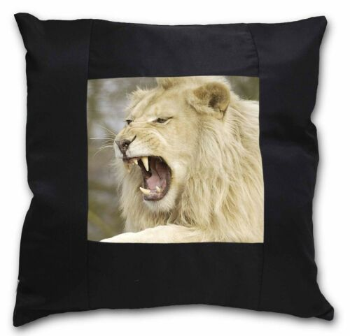 AT-43-CSB Roaring White Lion Black Border Satin Feel Cushion Cover With Pillow