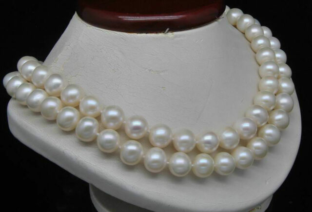 """Natural Double Strand 9-10MM AA+ White Pearl Necklaces (17"""" 18"""" Long)"""