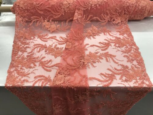 Embroidered Beaded /& Sequins Dk Coral Mesh Dress Lace Fabric By The Yard