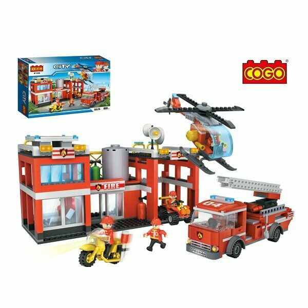 CITY FIRE STATION 833 PCS BUILDING BLOCKS