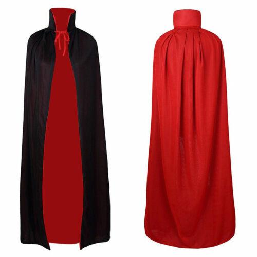 Adult Long Velour Hooded Cape Cloak Coat Fancy Dress Costume 90-170cm Black//Red
