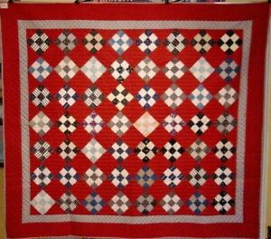 ANTIQUE-COUNTRY-QUILT-RED-BLACK-INDIGOS-NEAR-MINT-1880-s