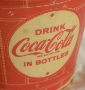 Coca-Cola-Wax-Popcorn-Bucket-5-75-Inch-Tall-Vintage-Delicious-and-Refreshing-SB1
