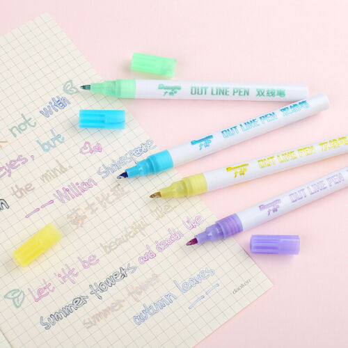 8 Color Gift Card Writing /& Drawing Double Line Outline Pen Two-line Color Pen