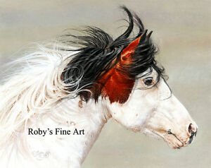 Mustang-Stallion-Horse-Art-8-034-x-10-034-Print-034-Wind-Chaser-034-Giclee-by-Roby-Baer-PSA