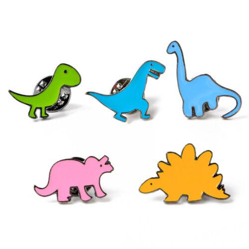 2Pcs Lindo Dinosaurio Esmalte Broche Insignia Pin De Cuello De Chaqueta Vaquera Moda Joyería