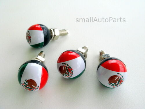 4 Mexico MEXICAN FLAG Ball License Plate Frame BOLTS Screws Caps for car//truck