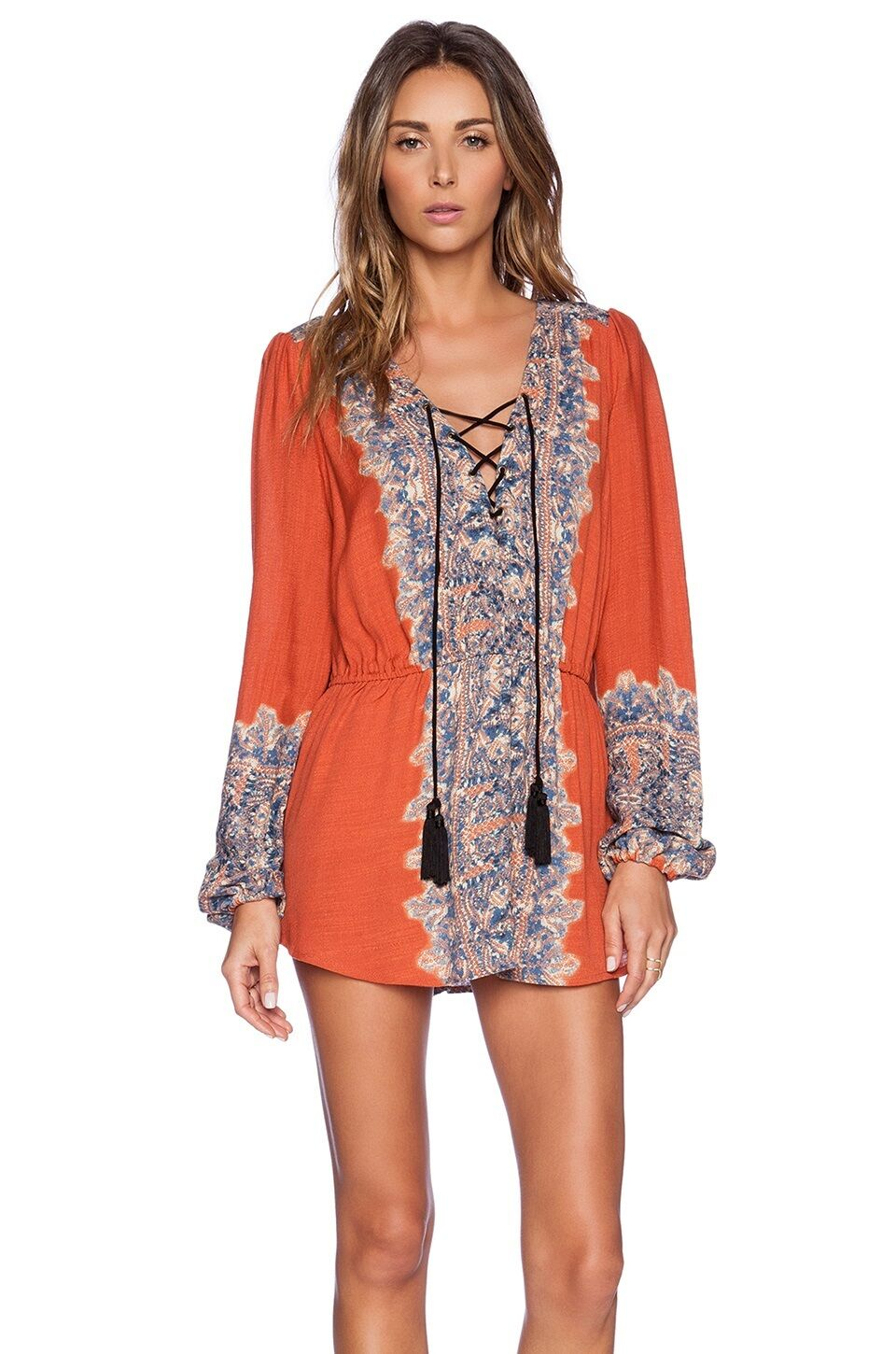 FREE PEOPLE damen Long Sleeve Wildest Moment Print Tunic Blouse Top XS S M L